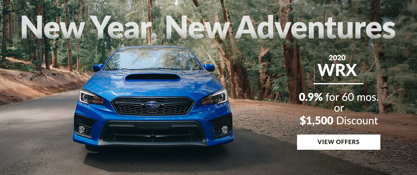 New Year, New Adventures. Take advantage of 0.9% APR for 60 months or a $1,500 discount on a new 2020 WRX.