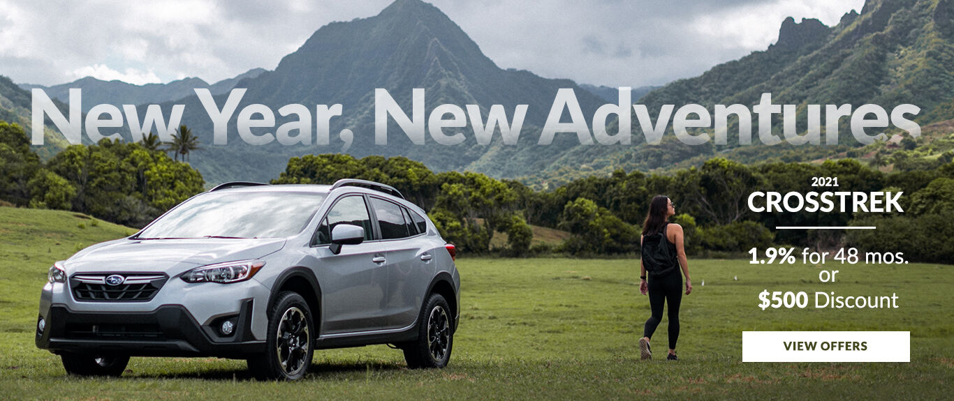 New Year, New Adventures. Take advantage of 1.9% APR for up to 48 months OR a $500 Discount on a new 2021 Crosstrek.