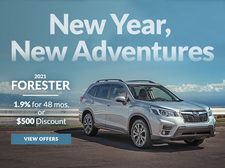 New Year, New Adventures. Take advantage of 1.9% APR for up to 48 months or a $500 discount on a new 2021 Forester.